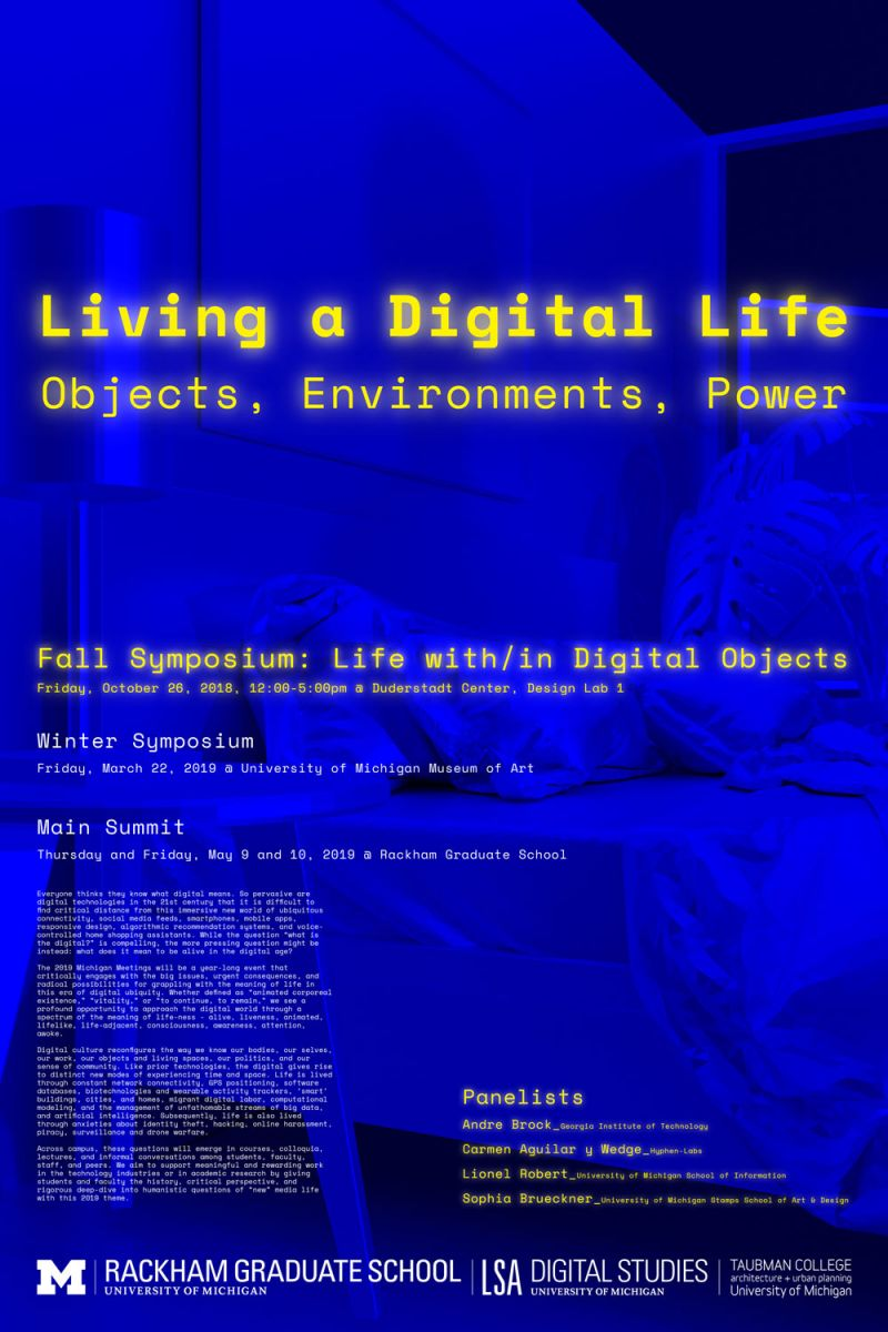 Michigan Meeting Fall Symposium: Life with/in Digital Objects