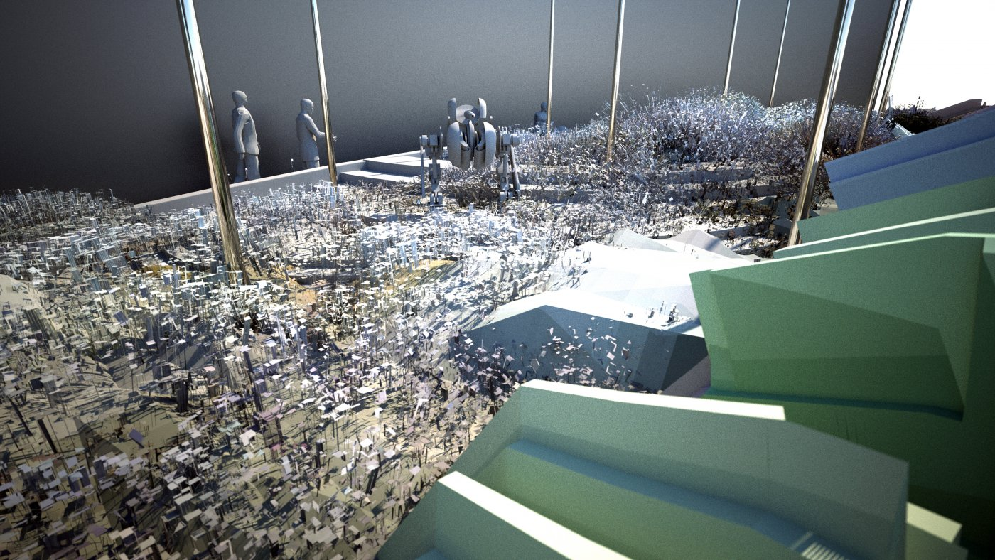 Rendering of a playground for robots on the University of Michigan's North Campus