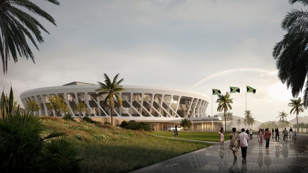 Rendering of large oval building and surrounding grounds